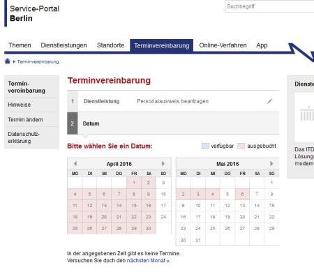 Personalausweis beantragen Termine April - Mai - Berlin - 7-3-2016