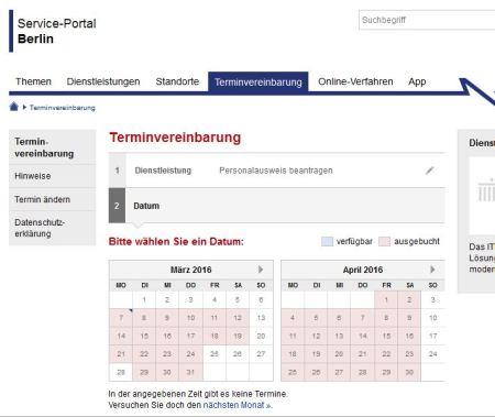 Personalausweis beantragen Termine März-April - Berlin - 7-3-2016